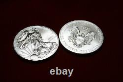 2012 1oz American Silver Eagle-lot, Rouleau De 20 Pièces De 1 $ En Tube Original Mint