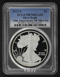 2012-s Silver Eagle À Partir Du 75e Anniversaire Sf Mint Set Pcgs Pr-70 Dcam -166454