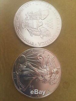 2013 Américain Silver Eagle Rouleau De 20 1 Oz 999 Pièces Beaux $ 1 Bu Mint Tube