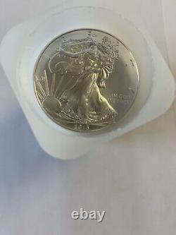 2013 American Silver Eagle 1 Oz. 999 Silver 1 Rouleau De 20 Pièces Bu Dans Mint Tube
