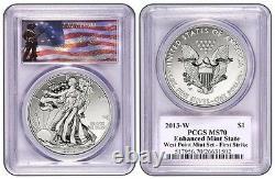 2013-w Pcgs Ms70 Enhanced Mint État Silver Eagle First Strike (label Freedom)