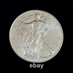 2014 Mint Roll Of 20 Coins 1 Troy Oz. 999 Argent Fin Aigle Américain $1 Bu