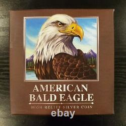 2014 Perth Mint Tuvalu Proof $5 American Bald Eagle High Relief 5 Oz 999 Argent