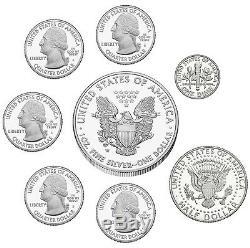 2014 Us Mint Edition Limitée Silver Proof Ensemble 8 Pièces Eagle Kennedy Quarter Dime
