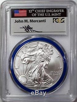 2014 W 1 $ Bruni Silver Eagle Pcgs Sp70 Mercanti Signés Monnaie Série Graveuse