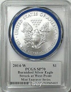2014-w Monnaie Graveuse Bruni Silver Eagle-pcgs Sp70-mercanti-drapeau-pop 366