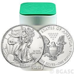 2015 Mint Roll De 20 1 Troy Oz. 999 Argent Fin Aigle Américain $1 Bu Pièces