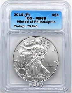 2015- (p) $ 1 Silver Eagle Ms69 Struck À Philadelphia 1 Sur 79 640 Icg Machés