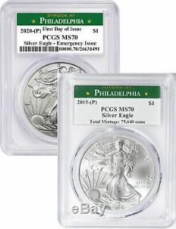 2015-p 2020-p Argent Eagles De Philadelphie Mint Étiquette Pcgs Ms70 Set Date Clé