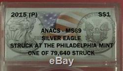 2015-p Américain Silver Eagle Anacs $ 69 Mme Frappèrent Monnaie De Philadelphie Bin Gratuit