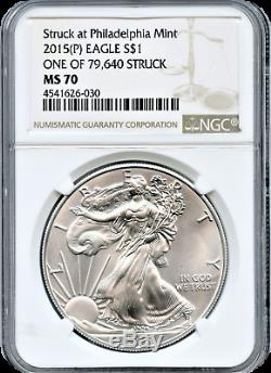 2015 (p) Silver Eagle 1,00 $ Frappé À La Monnaie De Philadelphie Ngc Ms70 L'un Des 79 640