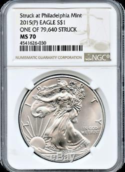 2015 (p) Silver Eagle 1,00 $ Frappé À La Monnaie Ngc Ms70 Philadelphie L'un Des 79640