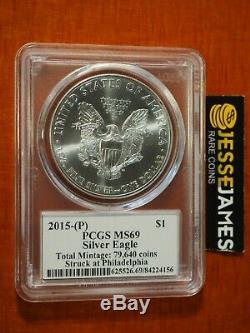 2015 (p) Silver Eagle Gpc Ms69 Drapeau Mercanti Frappèrent Monnaie De Philadelphie 79640