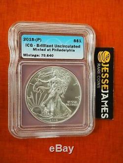 2015 (p) Silver Eagle Icg Bu'struck À Philadelphia Mint 'tirage 79,640 Clé