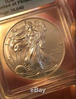 2015 (p) Silver Eagle Icg Ms69'struck À Philadelphie Mint ' Mintage 79640 Key