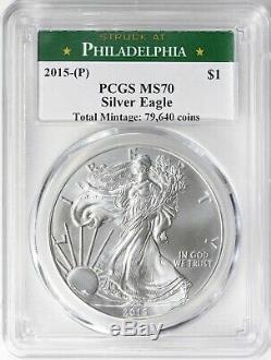 2015-p Silver Eagle Monnaie De Philadelphie Étiquette Pcgs Ms70 Cert 38550773