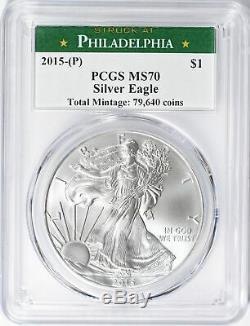 2015-p Silver Eagle Monnaie De Philadelphie Étiquette Pcgs Ms70 Cert 38550870