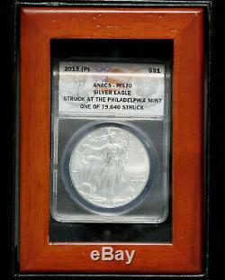 2015- (p) Us Silver Eagle 1 $ Anacs Ms70 1 De 79640 Struck À Philadelphie Mint