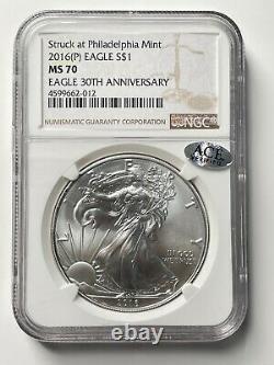 2016 (p) American Silver Eagle Ngc Ms70 Struck À Philadelphia Mint
