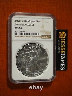 2016 (p) Silver Eagle Ngc Ms70 Struck At Philadelphia Mint Brown Label