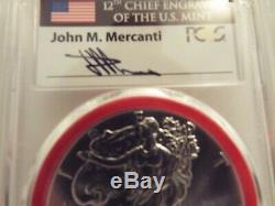 2016- (s) 1 $ Argent Eagle Pcgs Ms70 Série De Graveur Mercanti Menthevariée Rare