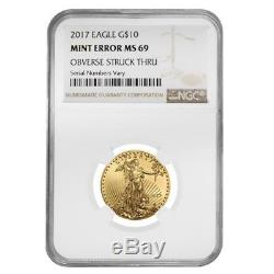 2017 1/4 Oz 10 $ Or American Eagle Ngc Ms 69 Erreur Menthe