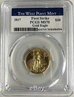 2017 Frappé À West Point Mint Gold Eagle 10 $ 1/4 Oz Ms 70 Pcgs First Strike