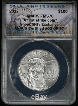 2017 P $ 100 1 Oz American Eagle Platinum 20ème Anniversaire Anacs Ms70 Lot # V929