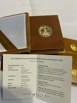 2017 Us Mint Proof American Eagle 1/4 Once Gold Coin Withcertificate And Box