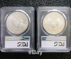 2017 (p) Et W. Mint Silver Eagles Américains Pcgs Ms70 Et Pcgs Sp70 Polis