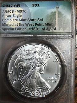 2017 (w) - (s) - (p) Argent Eagle Set État État Complet Anacs Ms 70 3 Oz Argent