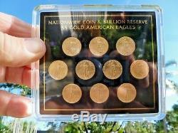 2018 1/10 Oz. 5,00 $ Or American Eagle Lot De 10 (dix) Total De 1 Once