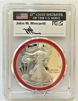 2018-monnaie Silver Eagle-engraver Pcgs Pr70-fdoi-mercanti-population Seulement 200