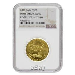 2019 1/2 Oz 25 $ D'or American Eagle Ngc Ms 69 Erreur Menthe (rev Struck Thru)