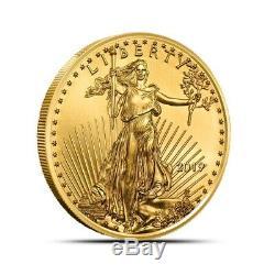 2019 1/2 Oz 25 Dollars Américains Pièce De Monnaie Eagle Coin Gem Bu Fraîche De Menthe