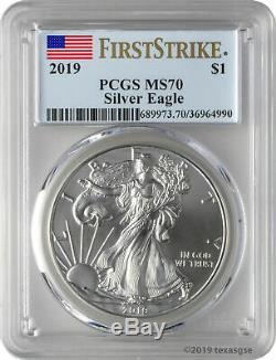 2019 $ 1 American Silver Eagle Étiquette De Drapeau Bleu Pcgs Ms70 First Strike - Lot De 5