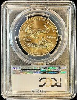 2019 50,00 $ Us American Gold Eagle Ms70 Pcgs Étiquette De Drapeau Au Premier Jour D'émission Mint