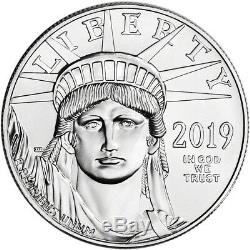2019 Américain Platinum Eagle 1 Oz 100 $ 1 Pièces Rouleau Twenty 20 Bu Mint Tube
