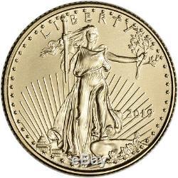 2019 American Gold Eagle 1/10 Oz $ 5 1 Rouleau De 50 Pièces Bu Dans Un Tube À La Menthe