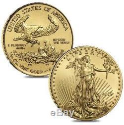 2019 American Gold Eagle 1/10 Oz $ 5 Bu De Us Mint Tout Neuf En Capsules De Monnaie