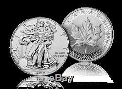 2019 Pride Of Two Nations Us Silver Eagle 1 Et 5 $ $ Feuille D'érable Dans Des Contenants Scellés Boîte Monnaie