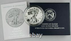 2019 S American Silver Eagle Amélioration De La Preuve Inverse 1 $ Pièce + Box & Coa (sf Mint)