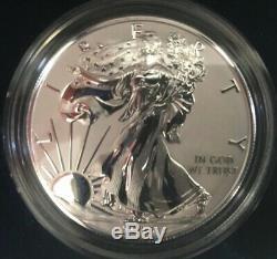 2019-s Amélioré Inverse Preuve 1 $ Américain Silver Eagle Withus Mint Box Ogp & # Coa