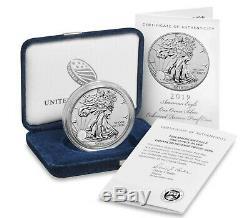 2019-s Améliorée Inversée Preuve Américaine Silver Eagle 1 Oz Mint 30.000 Ogp # Coa
