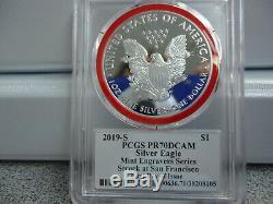 2019-s-eagle Silver Proof Pcgs Pr70-graveur Series-mint Mercanti-flag-bas Pop