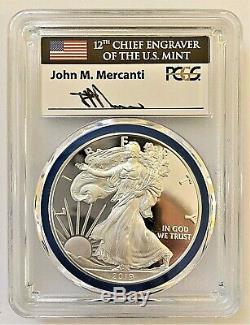 2019-w Proof Silver Eagle-pcgs Pr70-fdoi-menthe Gem-engravers Mercanti-pop 100