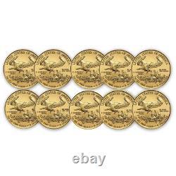 2020 1/10 Oz American Gold Eagle Bu Lot De 10