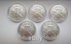 2020 1 Oz 999 Américain Silver Eagle Coin Brillant Uncirculated Lot De 5