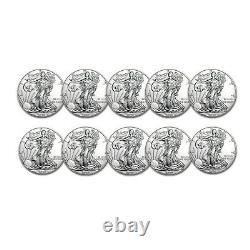 2020 1 Oz Américaine Silver Eagle Bu Lot De 10 Pièces 1 $ Us Mint Argent