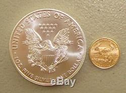 2020 1 Oz American Silver Eagle & 1/10 Oz Américaine Gold Eagle Bullion Coin Lot